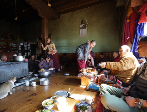 Lunch time. The wife of the Lama preparing food for all